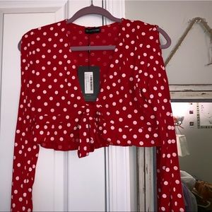 PrettyLittleThing going out polk a dot crop top